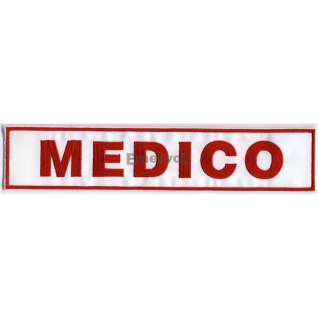 "Etichetta ""MEDICO"" ricamata base velcro cm3x10"