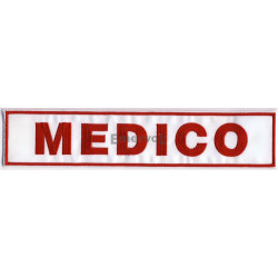 "Etichetta ""MEDICO"" cm25x5 ricamata base velcro"