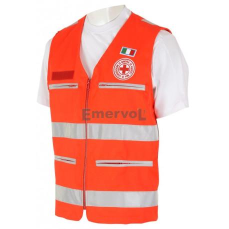 Gilet Rosso Alta Visibilità UNI EN 20471 Croce Rossa Italiana