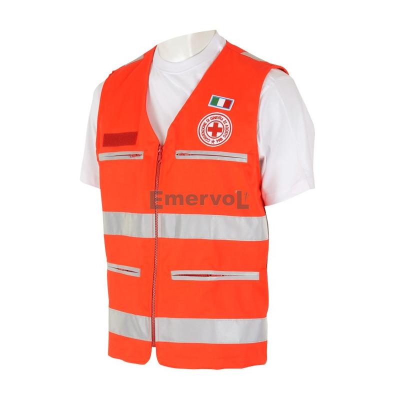 602 HV CRI Gilet Rosso Alta Visibilità UNI EN 20471 Croce Rossa Italiana 5a47ef544357